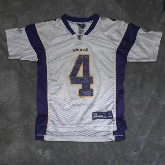 fdef70bb4 Brett Favre  4 Minnesota Vikings Youth NFL Jersey.  M 5b9064ac819e903cad21b11b